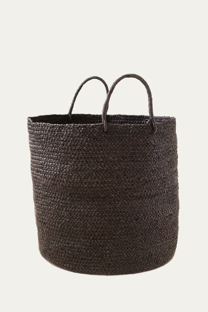 Black Braided Raffia Basket