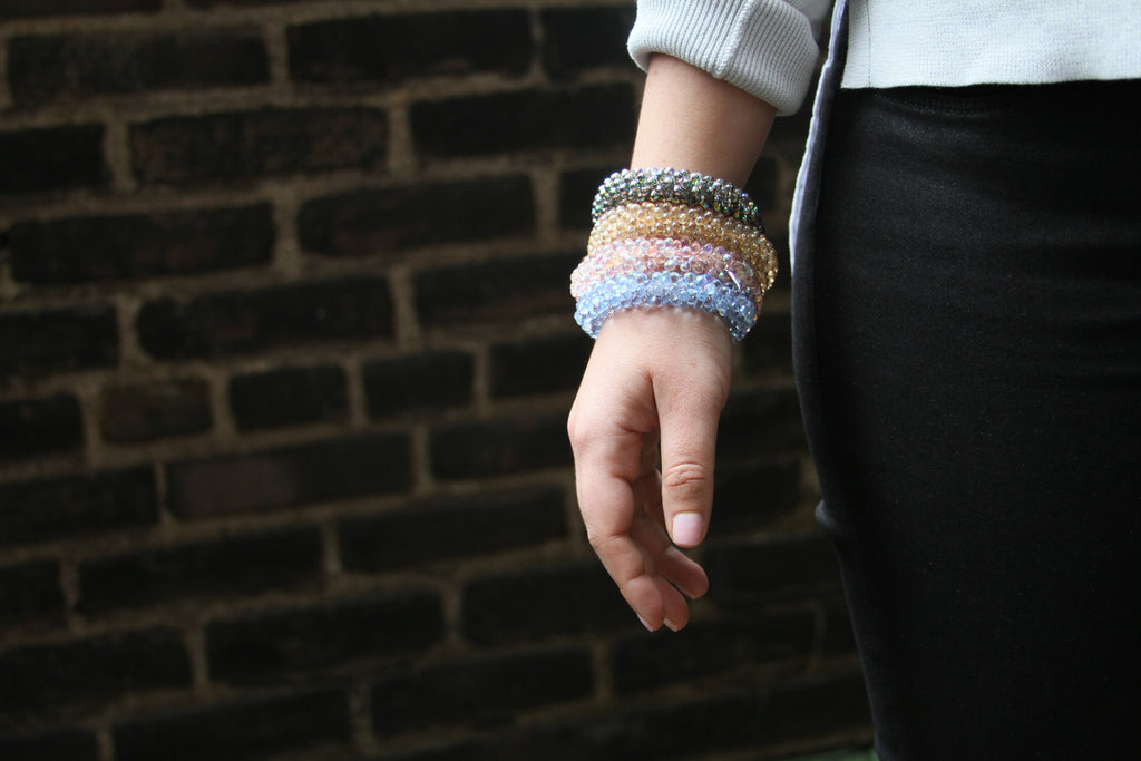 Crystal Bond Bracelets from the Bond Collection on model