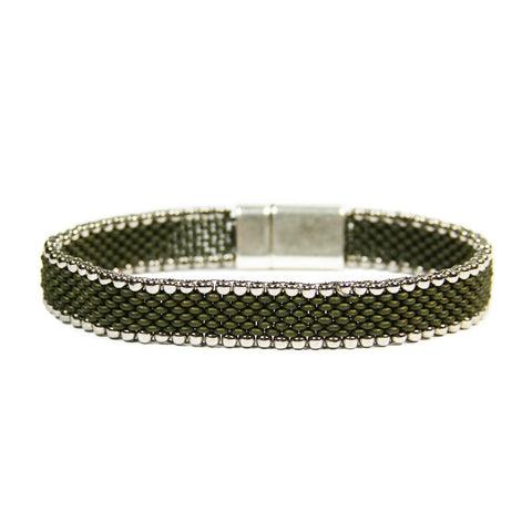 Pewter Duo Black Tie Pavé Bracelet