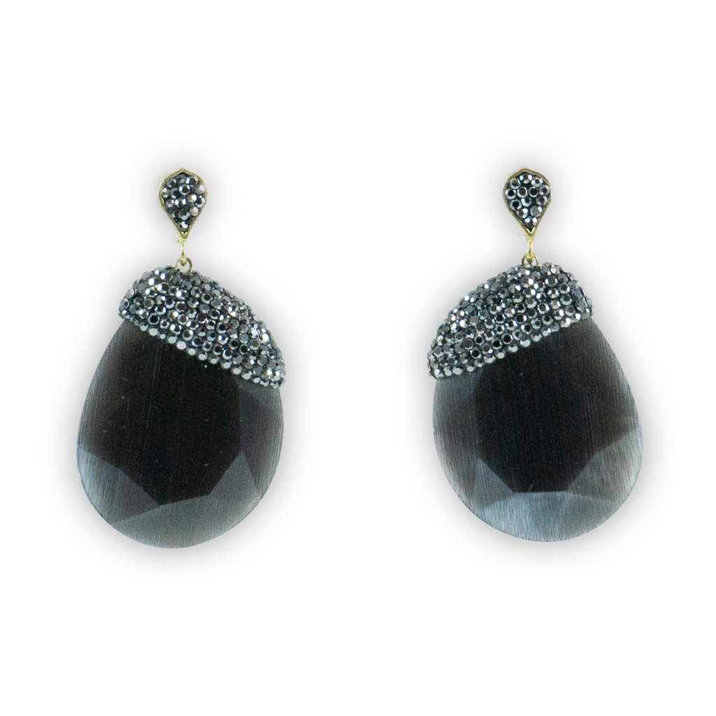 Hematite + Obsidian Crystal Earrings