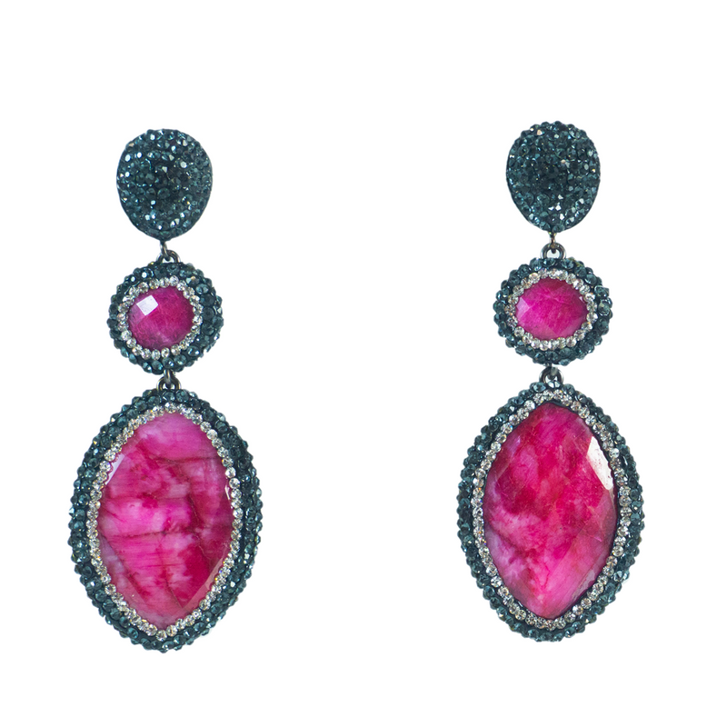 Tiered Pink Tourmaline Earrings