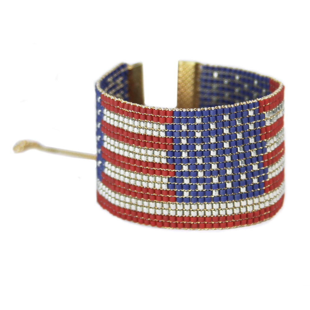 Stars & Stripes American Flag Cuff Bracelet from the Loom Collection