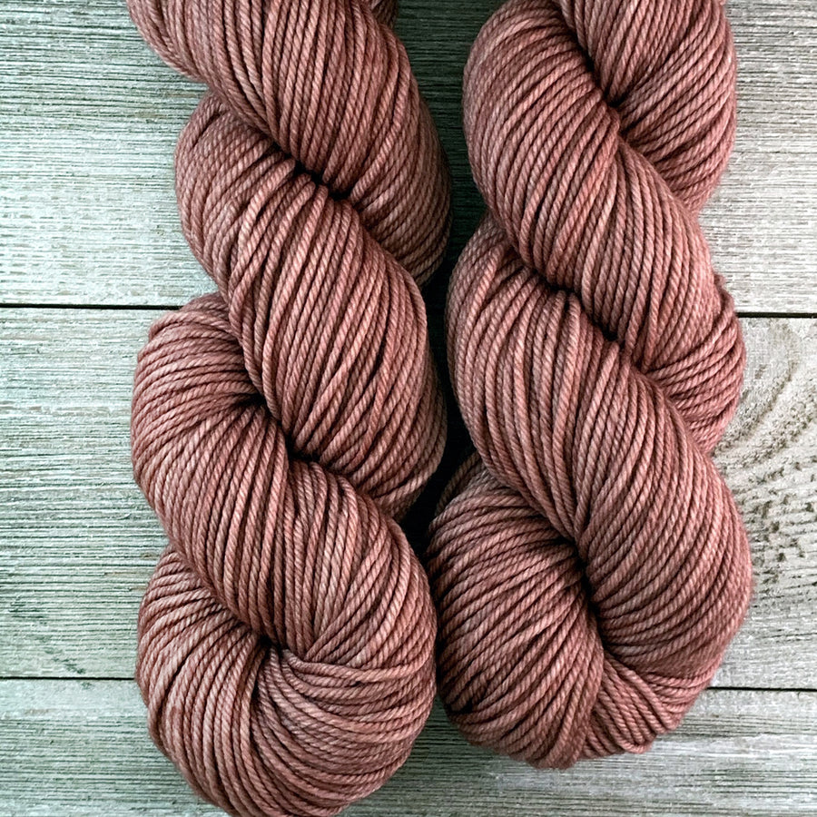 ww kashmir Rustic Rose, hand-dyed worsted weight merino and cashmere yarn