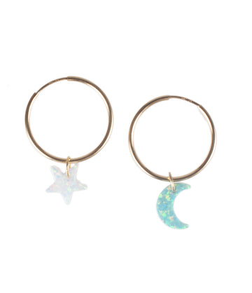 The Star & New Moon Earring Set