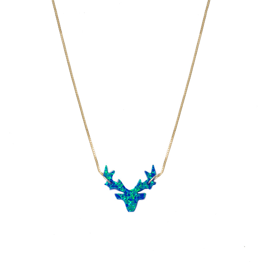 The Opal Blue Deer Necklace