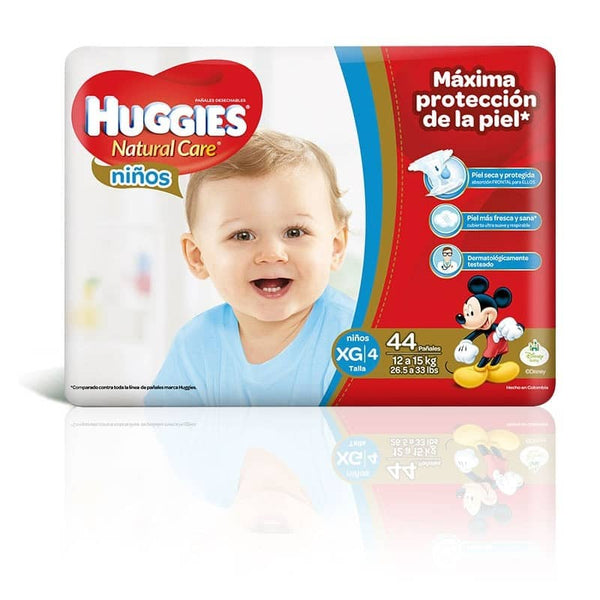 Pañal Huggies Natural Care Niño XG - 44 und