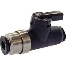 "Pisco ""Hiflow"" series push-to-connect micro ball valve with fitting"