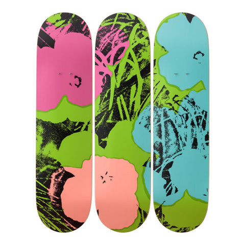 Andy Warhol Flowers (Green/Pink) Set of 3 Skate Decks