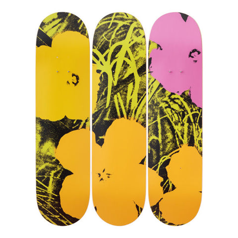 Andy Warhol Flowers (Lime/ Oragne) Set of 3 Skate Decks