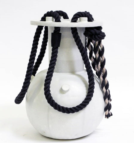 Black Rope Vase in Marshmallow by BZIPPY