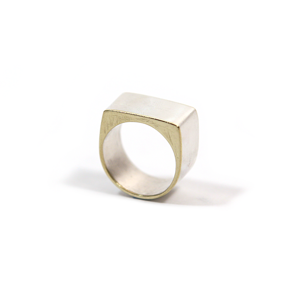 Silver & Brass Square Ring by Formina