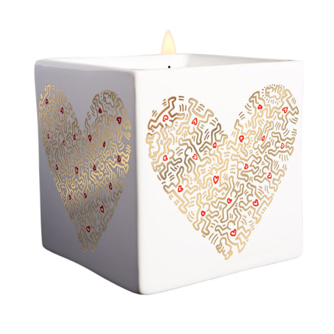 Keith Haring Gold Heart Candle