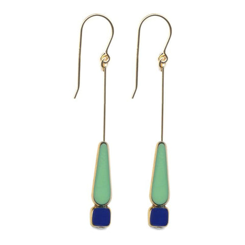 Green and Navy Tear Earrings by I. Ronni Kappos