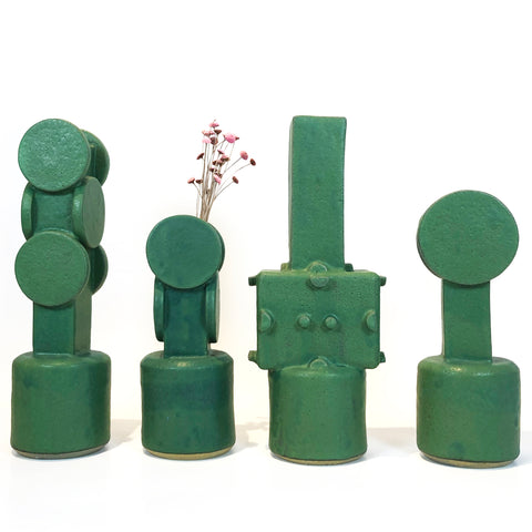 Green Stoneware Vases by BZIPPY