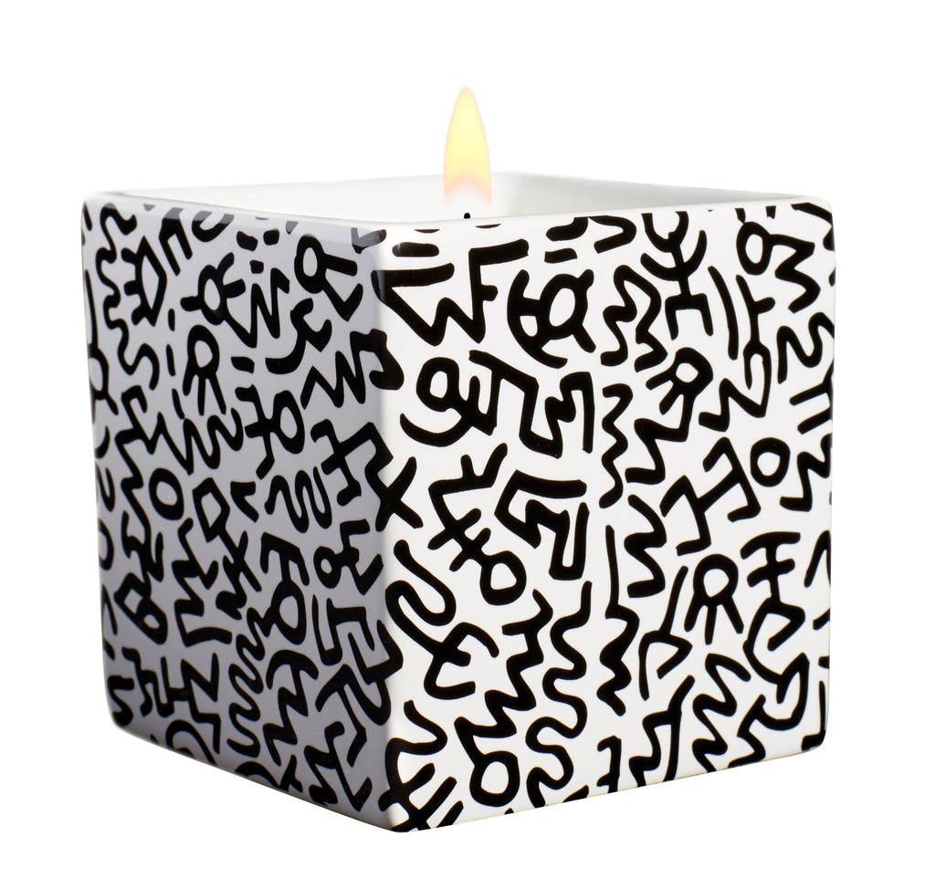 Keith Haring Square Candle Black Pattern