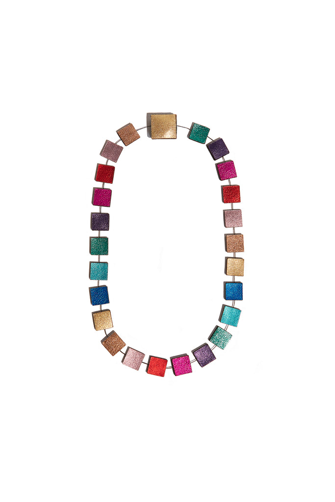 Rainbow Square Necklace (Short) by Iskin Sisters