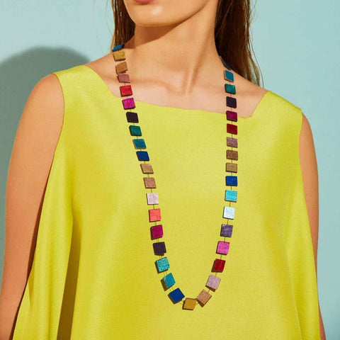 Rainbow Square Necklace (Long) by Iskin Sisters