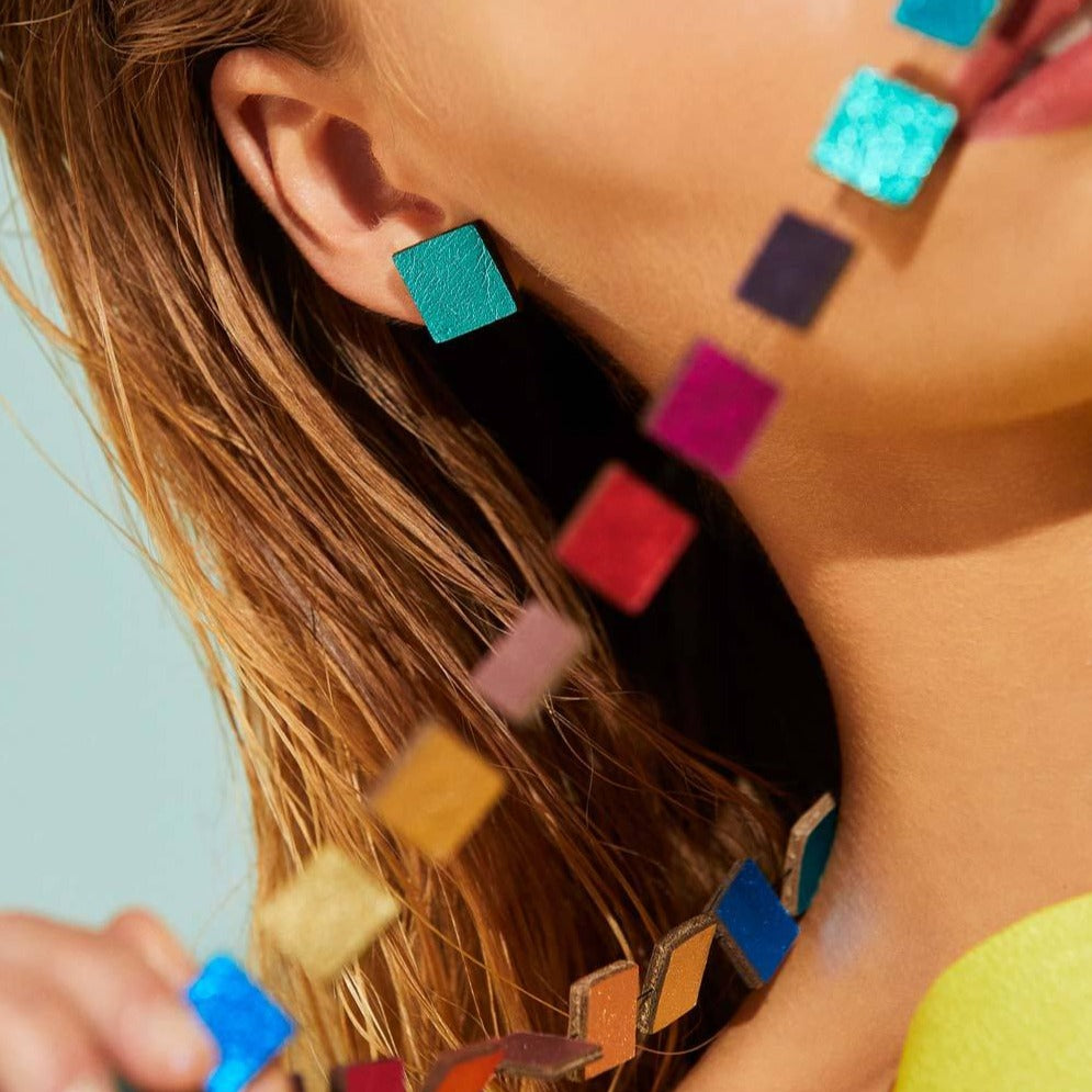 Rainbow Square Earrings by Iskin Sisters