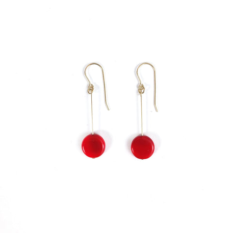 Red Circle Drop Earrings by I. Ronni Kappos