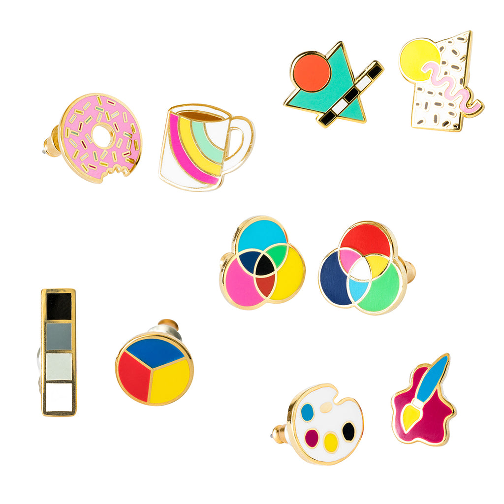 Fun Mismatched Stud Earrings by Yellow Owl Workshop