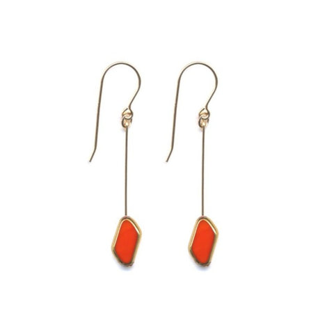 Red Rhombus Drop Earrings by I. Ronni Kappos