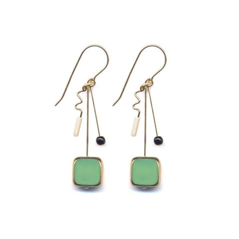 Green Square with Gold Squiggle Drop Earrings by I. Ronni Kappos