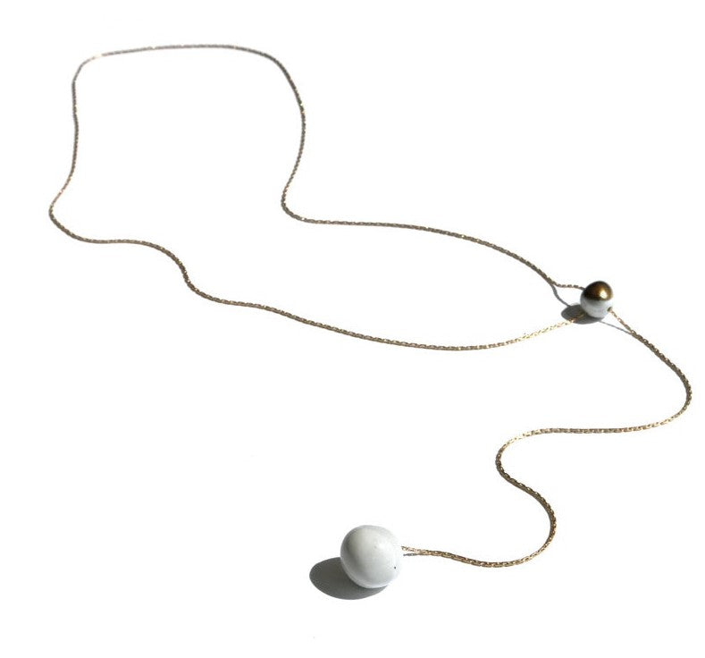 Pearl Lariat Necklace by Jujumade