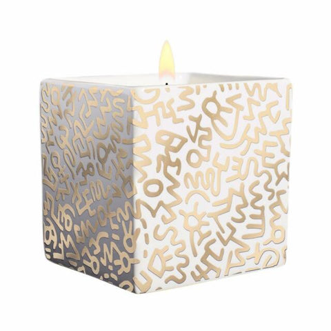 Keith Haring Square Candle Gold Pattern