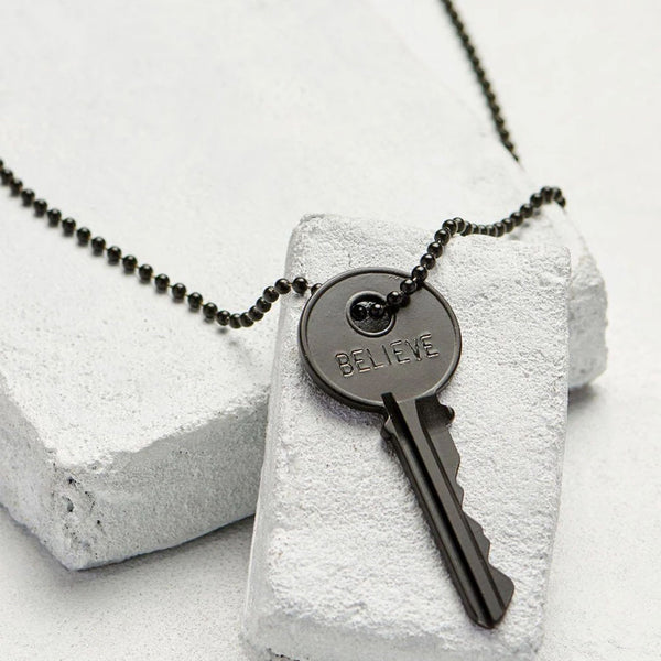 The Giving Keys Matte Black Key Necklace