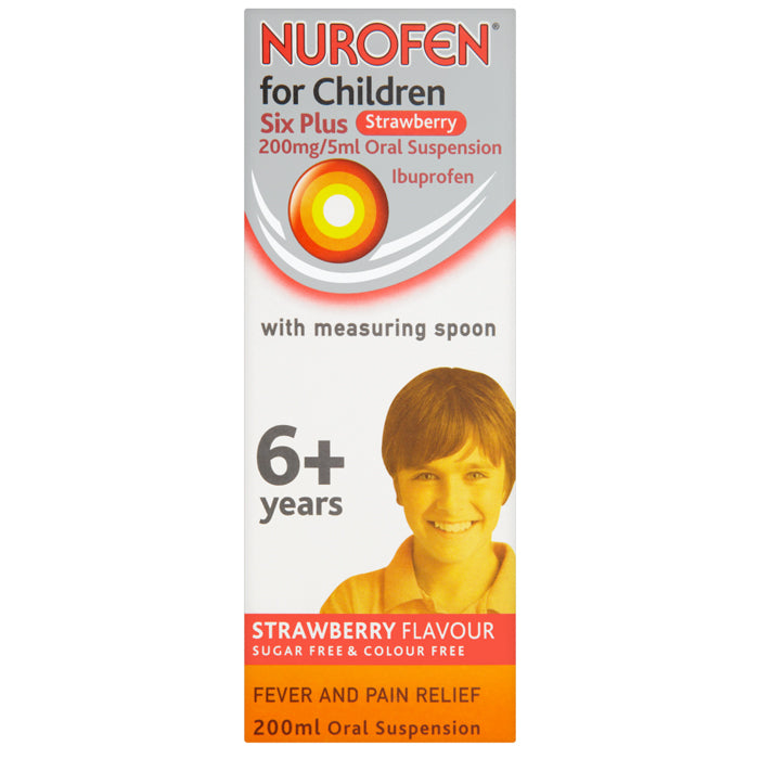 Nurofen for Children Six Plus Strawberry 200mg/5ml Oral Suspension