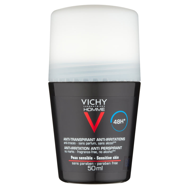 Vichy Homme Deodorant for Sensitive Skin Roll-On 50ml Actions
