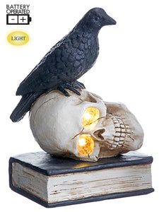 "10.5"" Battery Operated Crow on Skull With Light Black Cream (pack of 1)"