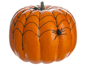 "11""Hx12""D Weighted Spider Web Pumpkin w/Spider Orange Black (pack of 2)"