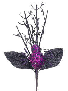 "12"" Glittered Spider Pick  Purple Black (pack of 12)"