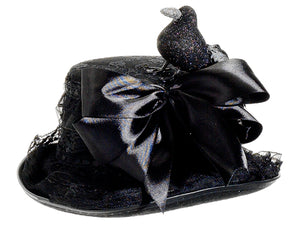 "12"" Witch's Hat w/Crow  Black (pack of 4)"
