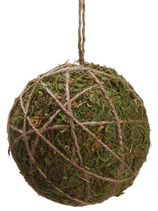 "4"" Moss Ball Ornament  Green (pack of 12)"