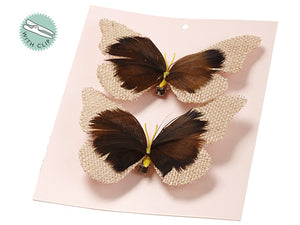 "4""Wx5.5""L Butterfly With Clip (2 ea/set) in Plastic Bag Beige Brown (pack of 12)"