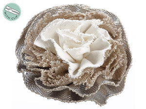 "3"" Flower Boutonniere  Silver Beige (pack of 12)"
