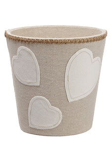 "7""Hx7""D Heart Container  Cream Beige (pack of 6)"