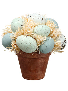 "6.5"" Robbin's Egg Topiary in Rope Container Two Tone Blue (pack of 4)"