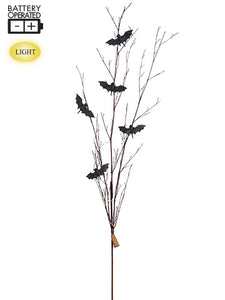 "55"" Battery Operated Glittered Bat Twig Spray With Lights Black Brown (pack of 12)"