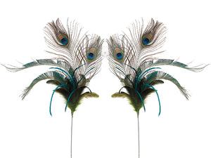 "24"" Peacock Feather Sprays (2 styles assorted) Peacock (pack of 12)"