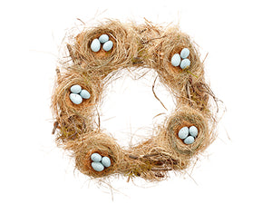 "18"" Bird's Nest Wreath With Egg Natural Blue (pack of 3)"