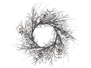 "24"" Berry/Twig Wreath  Red Black (pack of 2)"