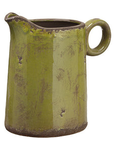 "8.25"" Terra Cotta Pitcher  Green (pack of 4)"
