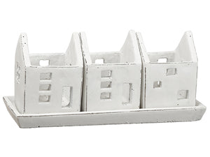 "5.5""Hx4.5""Wx11.25""L House Tealight Candleholder x3 With Tray Antique White (pack of 1)"
