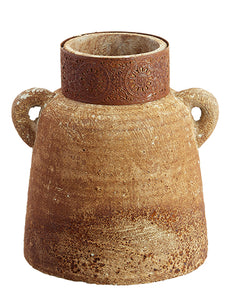 "9"" Filigree Pattern Cement Urn With Handles Brown Rust (pack of 1)"