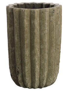 "5.1""Dx7.6""H Fluted Cement Pot  Gray (pack of 1)"