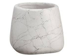 "7'Hx8.5""D Marble Look Cement Pot White Gray (pack of 4)"