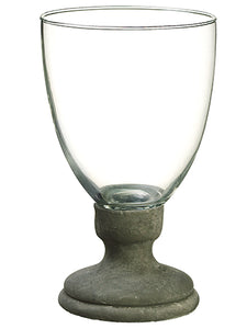 "8.25""Hx5""D Glass Vase w/Cement Base Clear Gray (pack of 6)"